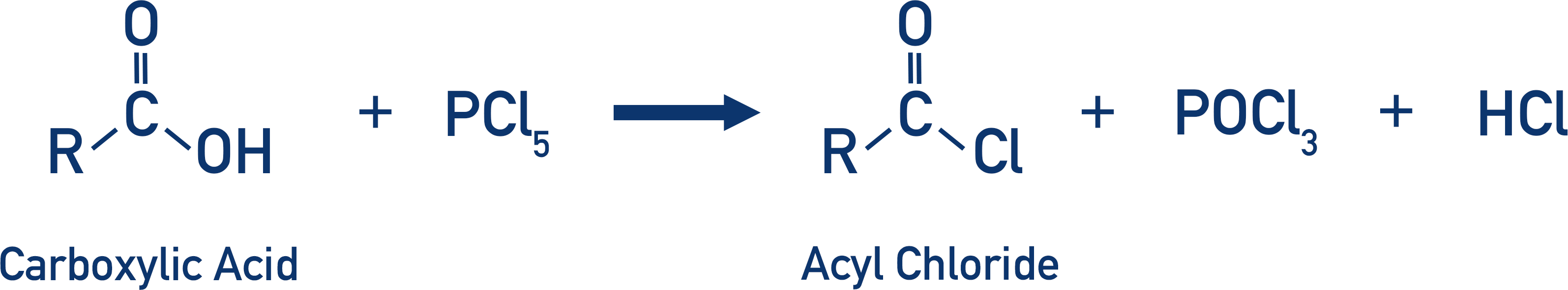 carboxylic acid with phosphorus pentachloride to form acyl chloride