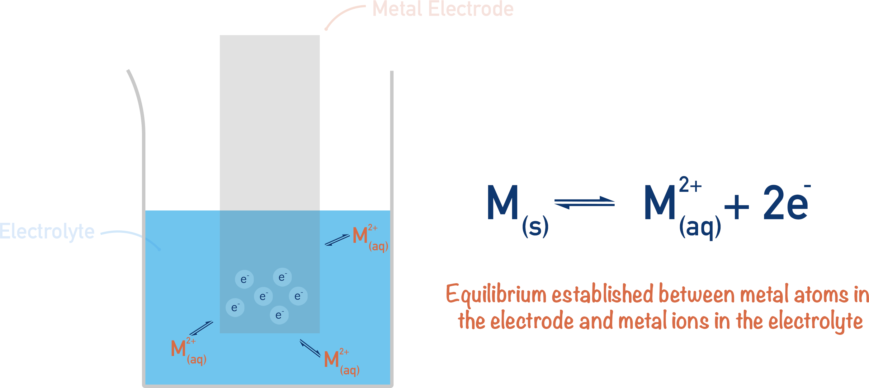 equilibrium between metal and ions electrochemistry potential difference electrode electrolyte