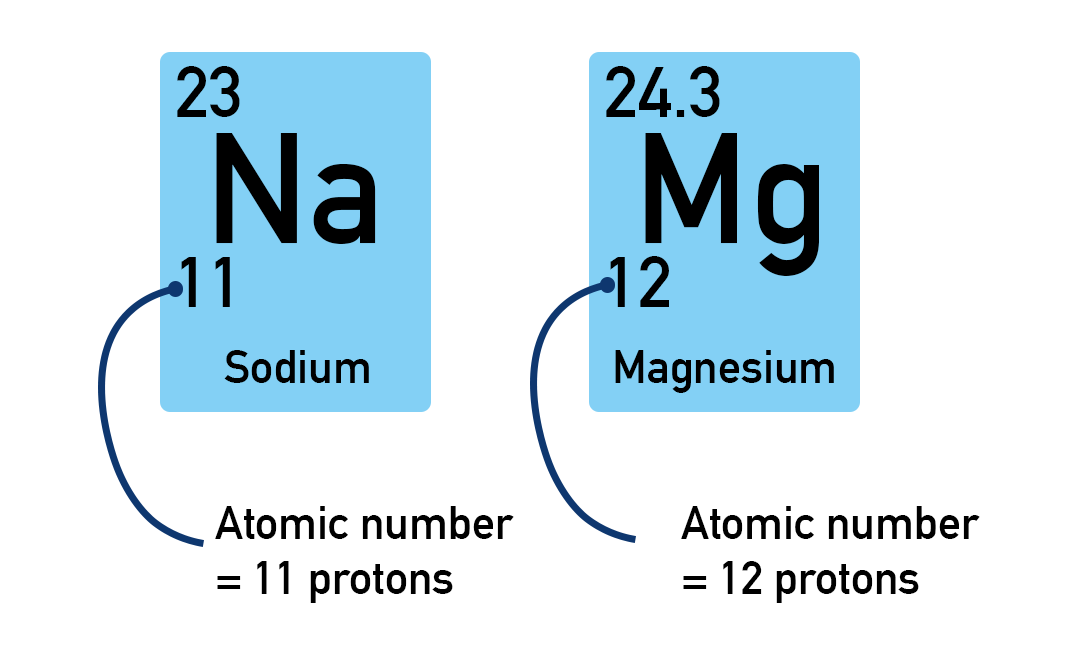Atomic number of Sodium and Magnesium, protons