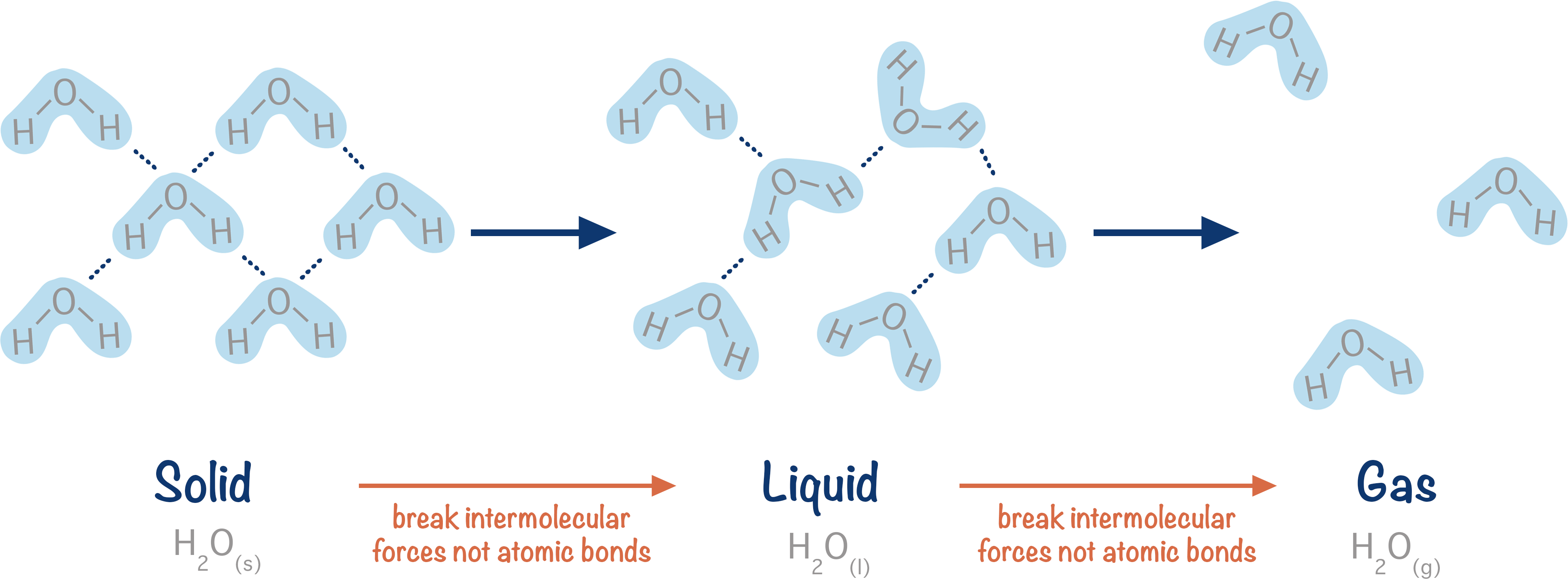 changing of intermolecular forces when water changes state